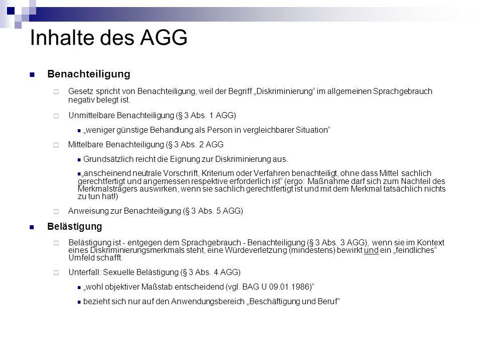 Inhalte des AGG Benachteiligung Belästigung