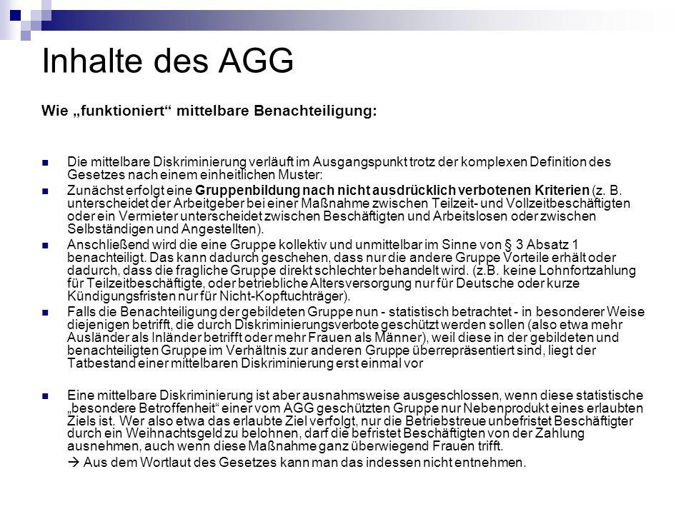 """Inhalte des AGG Wie """"funktioniert mittelbare Benachteiligung:"""