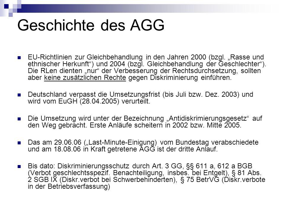 Geschichte des AGG