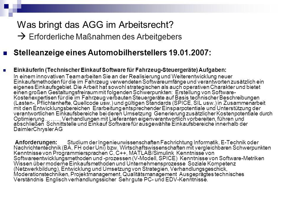 Was bringt das AGG im Arbeitsrecht