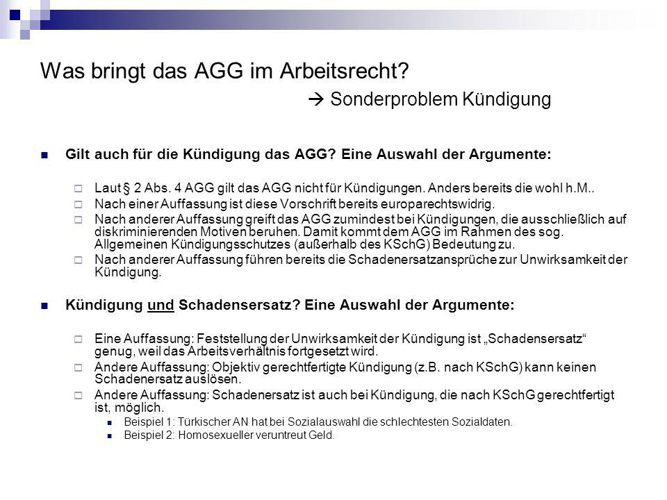 Was bringt das AGG im Arbeitsrecht  Sonderproblem Kündigung