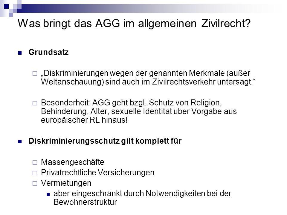 Was bringt das AGG im allgemeinen Zivilrecht