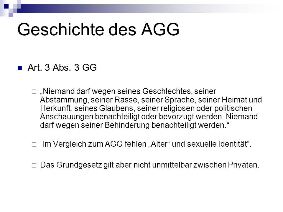 Geschichte des AGG Art. 3 Abs. 3 GG