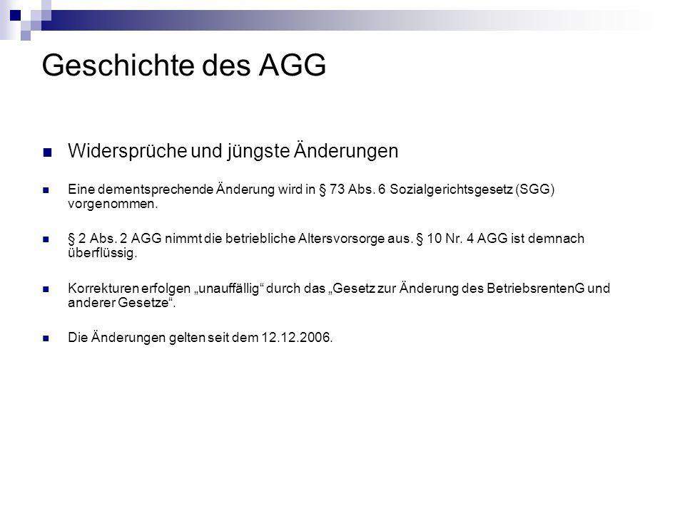 Geschichte des AGG Widersprüche und jüngste Änderungen