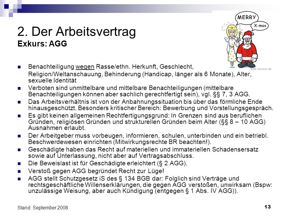 2. Der Arbeitsvertrag Exkurs: AGG