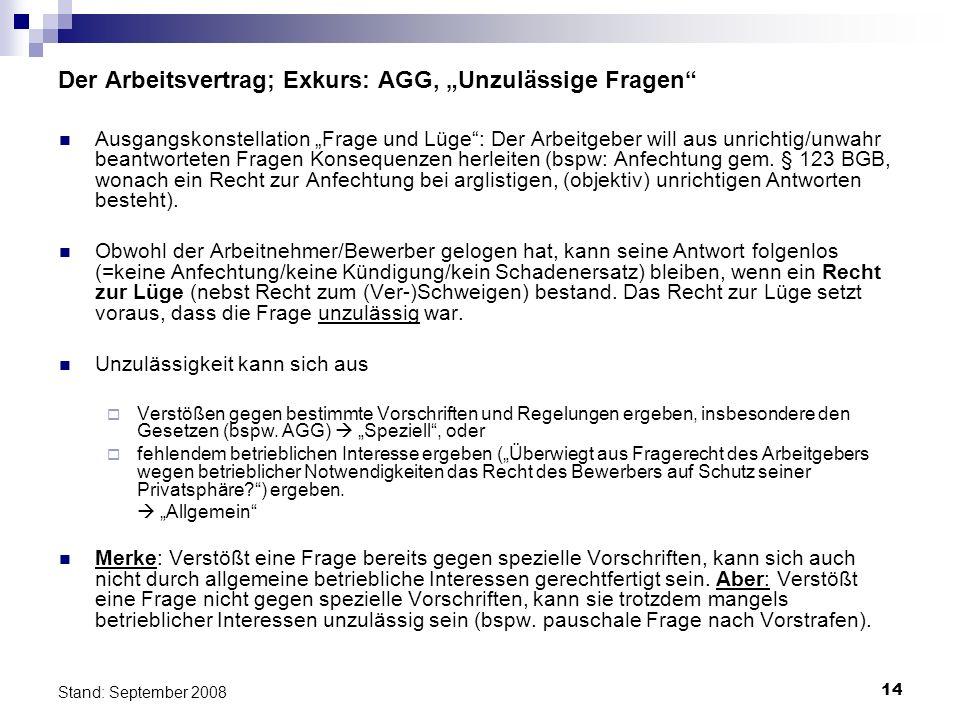 """Der Arbeitsvertrag; Exkurs: AGG, """"Unzulässige Fragen"""
