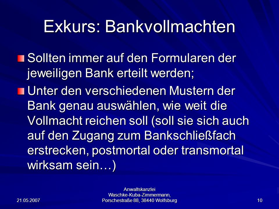 Exkurs: Bankvollmachten