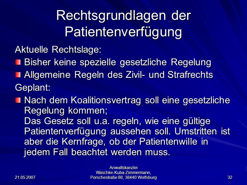 Rechtsgrundlagen der Patientenverfügung