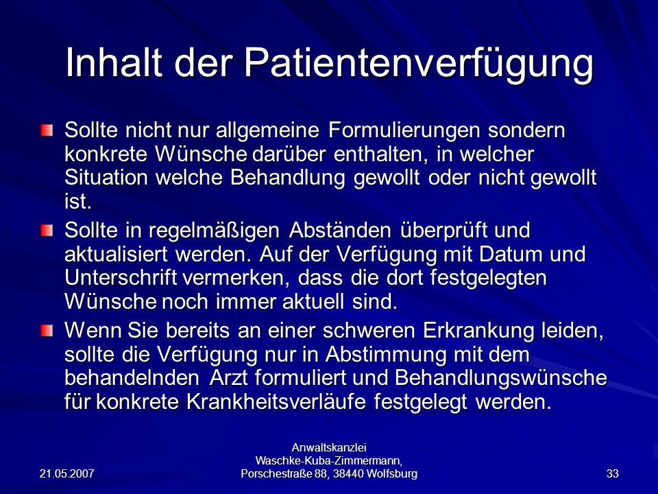 Inhalt der Patientenverfügung