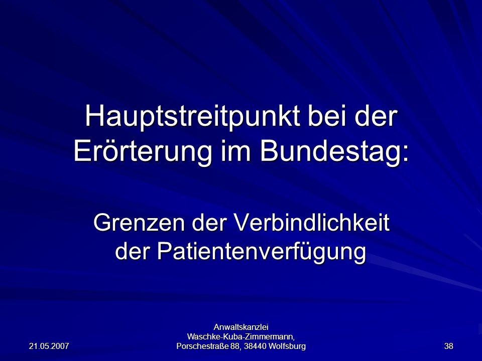 Hauptstreitpunkt bei der Erörterung im Bundestag:
