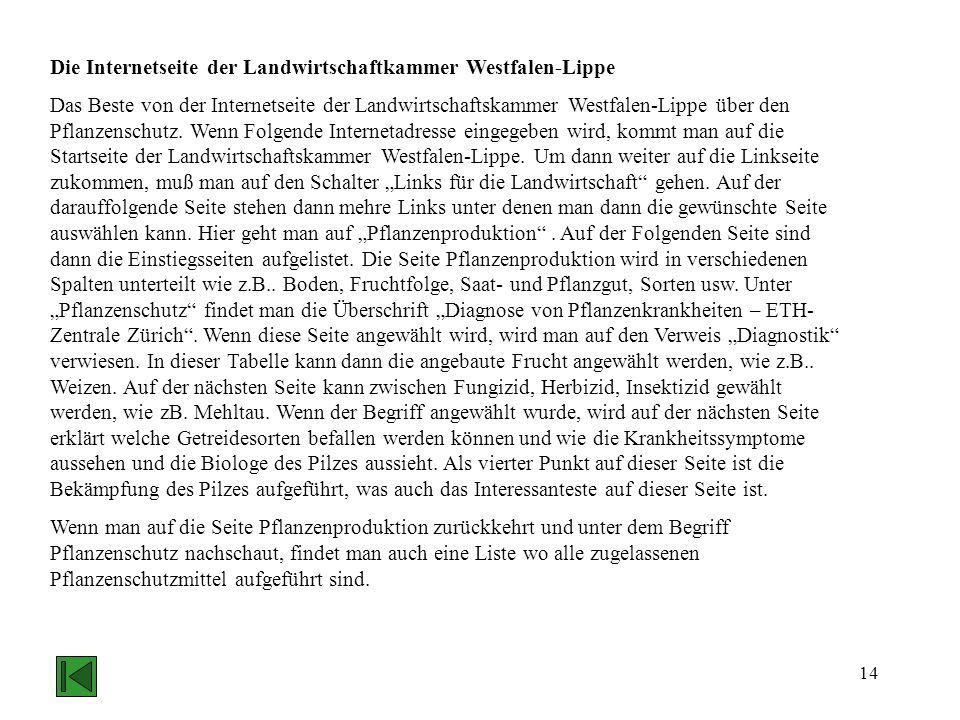 Die Internetseite der Landwirtschaftkammer Westfalen-Lippe