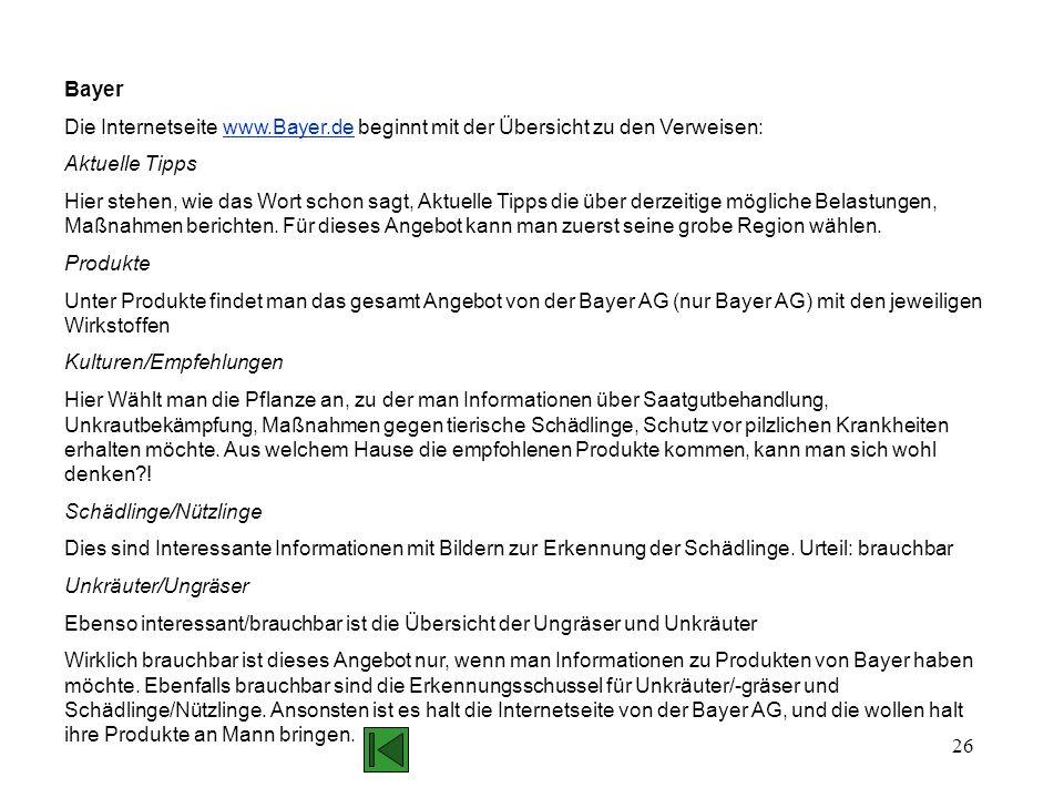 Bayer Die Internetseite www.Bayer.de beginnt mit der Übersicht zu den Verweisen: Aktuelle Tipps.