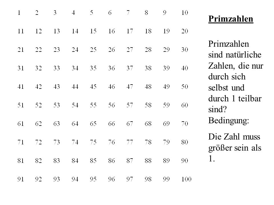 Primzahlen Primzahlen sind natürliche Zahlen, die nur durch sich selbst und durch 1 teilbar sind Bedingung: