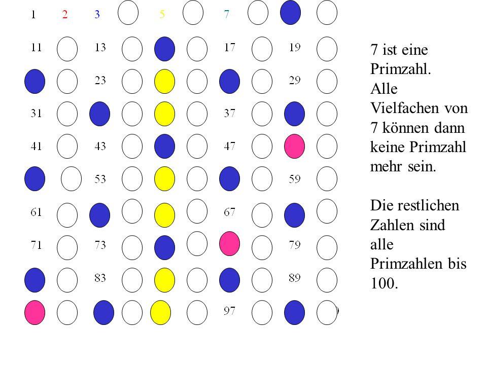 7 ist eine Primzahl. Alle Vielfachen von 7 können dann keine Primzahl mehr sein.
