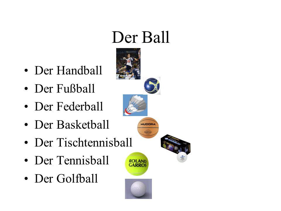 Der Ball Der Handball Der Fußball Der Federball Der Basketball
