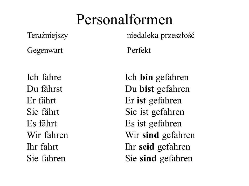 Personalformen Teraźniejszy. Gegenwart. niedaleka przeszłość. Perfekt.