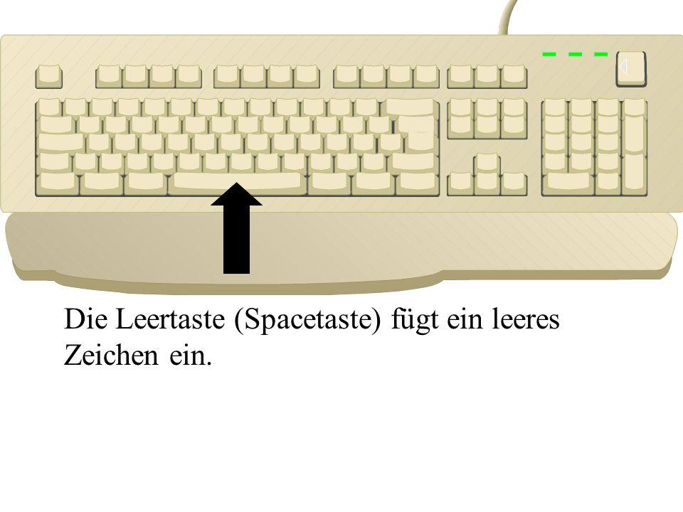 Die Leertaste (Spacetaste) fügt ein leeres Zeichen ein.