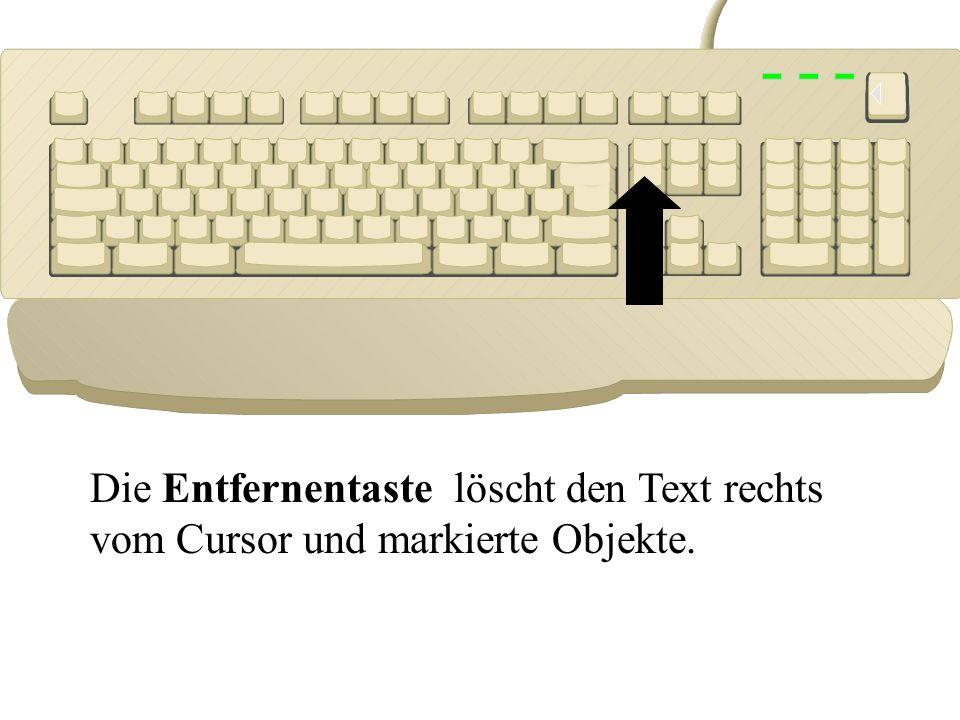 Die Entfernentaste löscht den Text rechts vom Cursor und markierte Objekte.