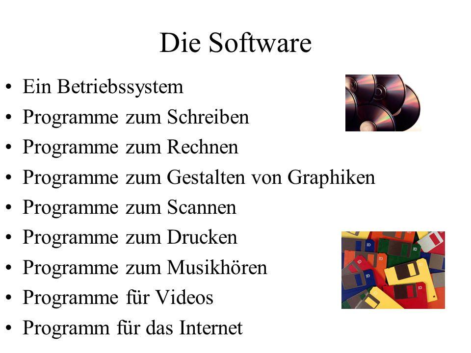 Die Software Ein Betriebssystem Programme zum Schreiben
