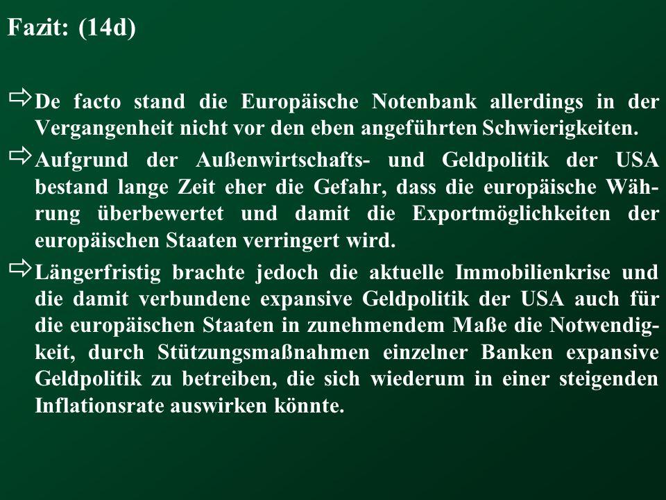 Fazit: (14d) De facto stand die Europäische Notenbank allerdings in der Vergangenheit nicht vor den eben angeführten Schwierigkeiten.