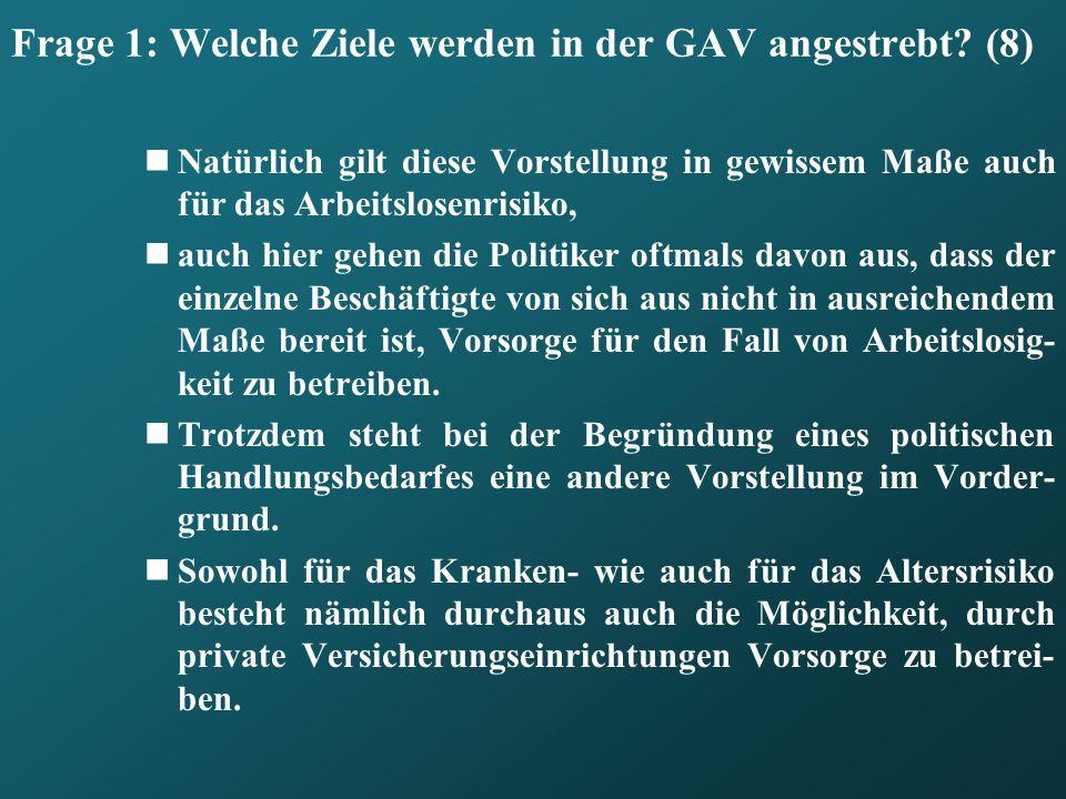Frage 1: Welche Ziele werden in der GAV angestrebt (8)