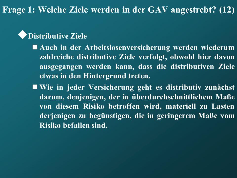 Frage 1: Welche Ziele werden in der GAV angestrebt (12)