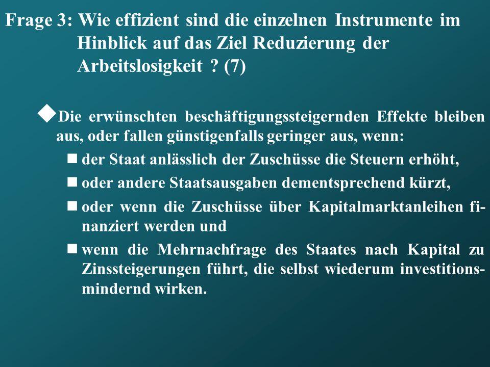 Frage 3: Wie effizient sind die einzelnen Instrumente im Hinblick auf das Ziel Reduzierung der Arbeitslosigkeit (7)