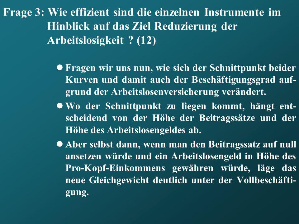 Frage 3: Wie effizient sind die einzelnen Instrumente im Hinblick auf das Ziel Reduzierung der Arbeitslosigkeit (12)