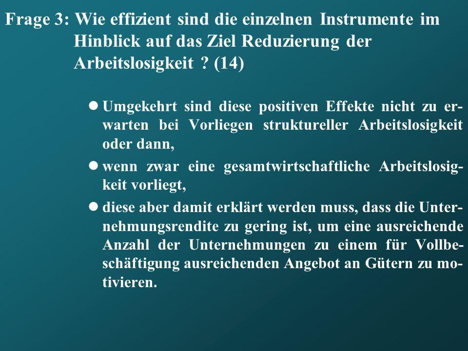 Frage 3: Wie effizient sind die einzelnen Instrumente im Hinblick auf das Ziel Reduzierung der Arbeitslosigkeit (14)