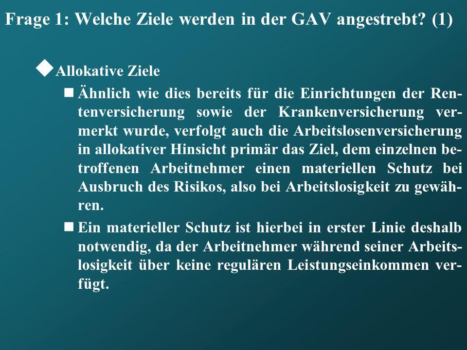 Frage 1: Welche Ziele werden in der GAV angestrebt (1)