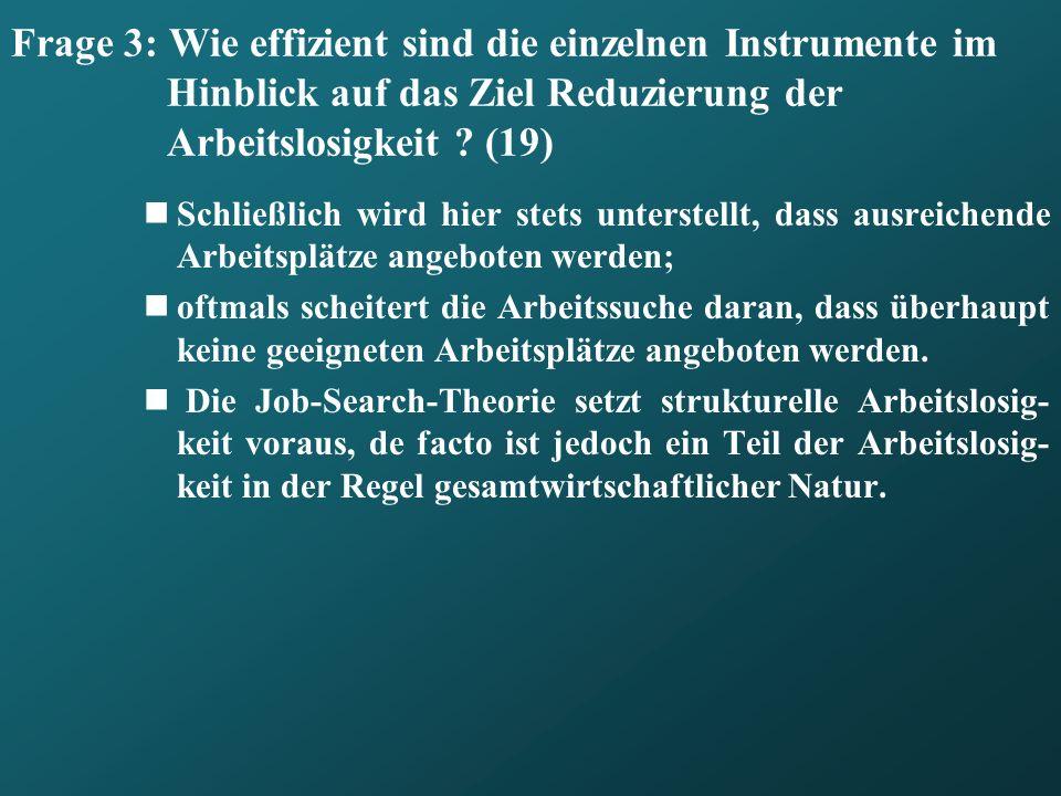 Frage 3: Wie effizient sind die einzelnen Instrumente im Hinblick auf das Ziel Reduzierung der Arbeitslosigkeit (19)