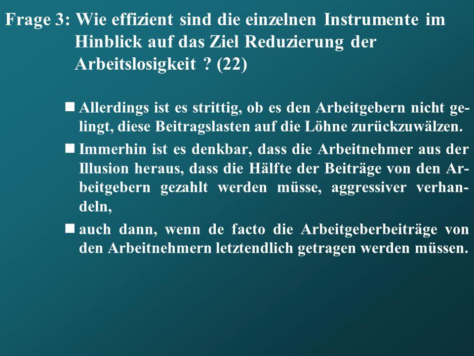 Frage 3: Wie effizient sind die einzelnen Instrumente im Hinblick auf das Ziel Reduzierung der Arbeitslosigkeit (22)