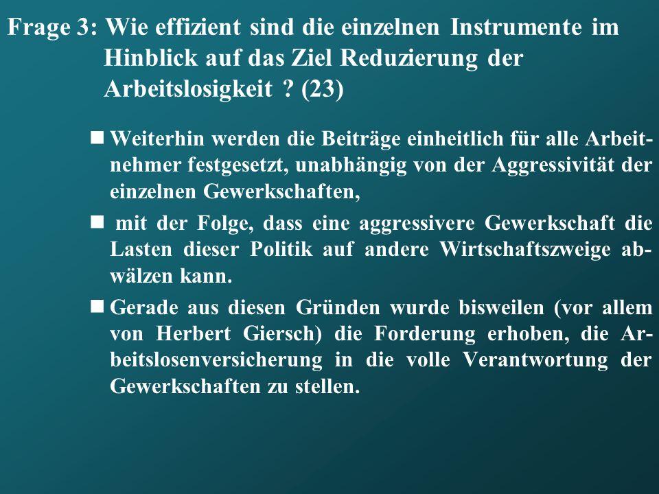 Frage 3: Wie effizient sind die einzelnen Instrumente im Hinblick auf das Ziel Reduzierung der Arbeitslosigkeit (23)