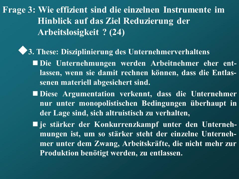 Frage 3: Wie effizient sind die einzelnen Instrumente im Hinblick auf das Ziel Reduzierung der Arbeitslosigkeit (24)