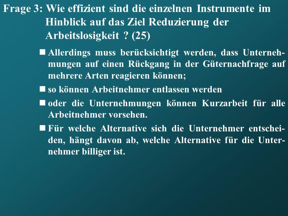 Frage 3: Wie effizient sind die einzelnen Instrumente im Hinblick auf das Ziel Reduzierung der Arbeitslosigkeit (25)