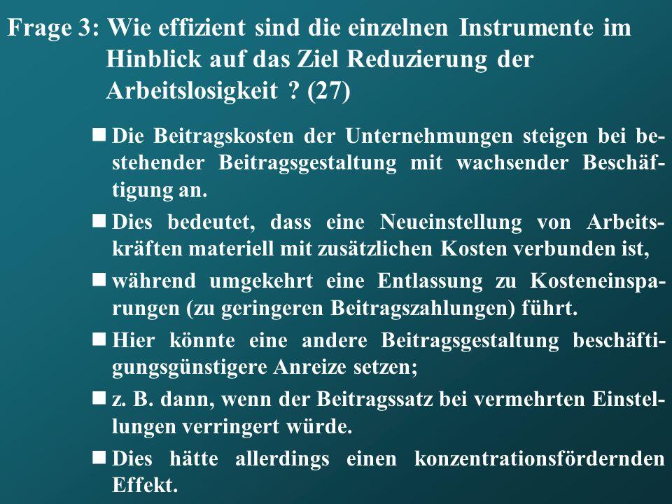 Frage 3: Wie effizient sind die einzelnen Instrumente im Hinblick auf das Ziel Reduzierung der Arbeitslosigkeit (27)