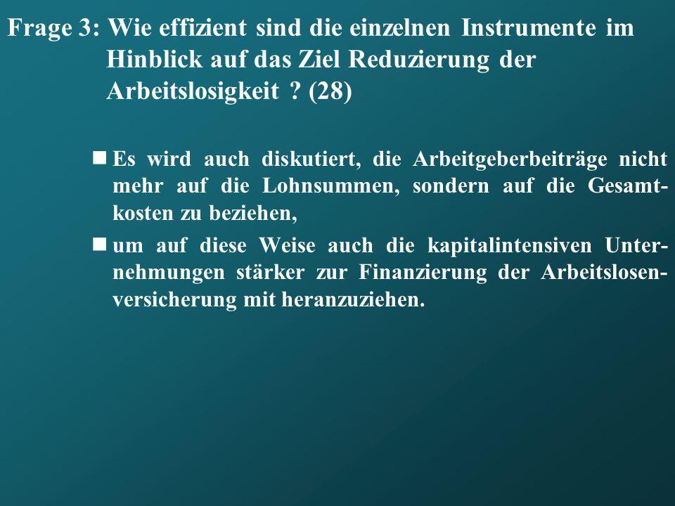 Frage 3: Wie effizient sind die einzelnen Instrumente im Hinblick auf das Ziel Reduzierung der Arbeitslosigkeit (28)