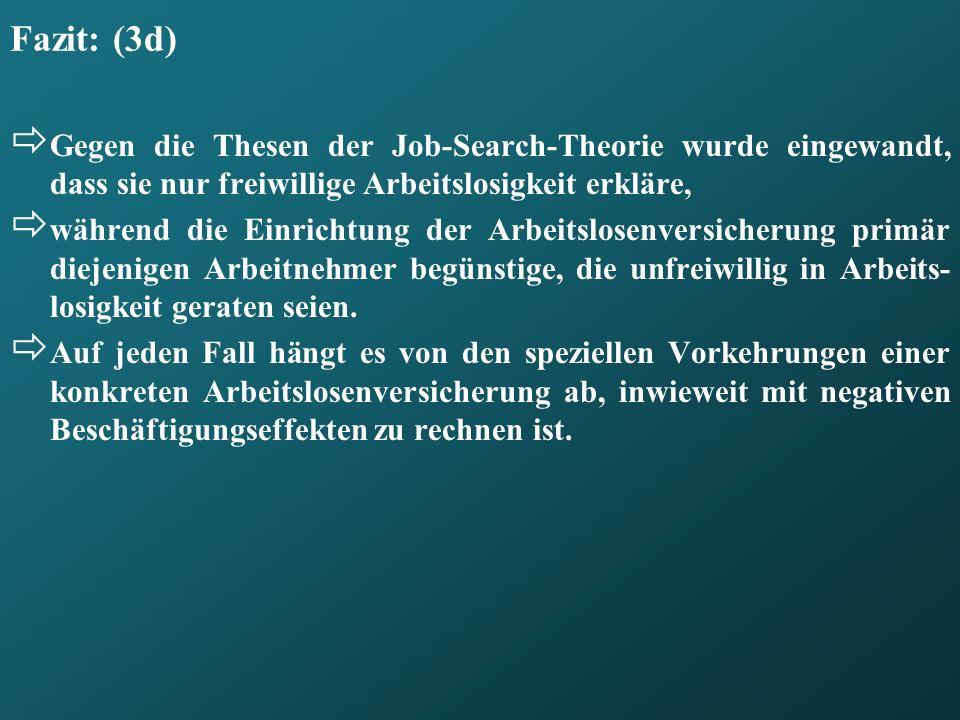 Fazit: (3d) Gegen die Thesen der Job-Search-Theorie wurde eingewandt, dass sie nur freiwillige Arbeitslosigkeit erkläre,