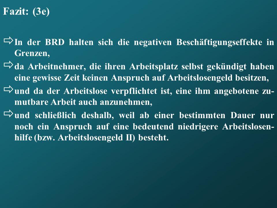 Fazit: (3e) In der BRD halten sich die negativen Beschäftigungseffekte in Grenzen,