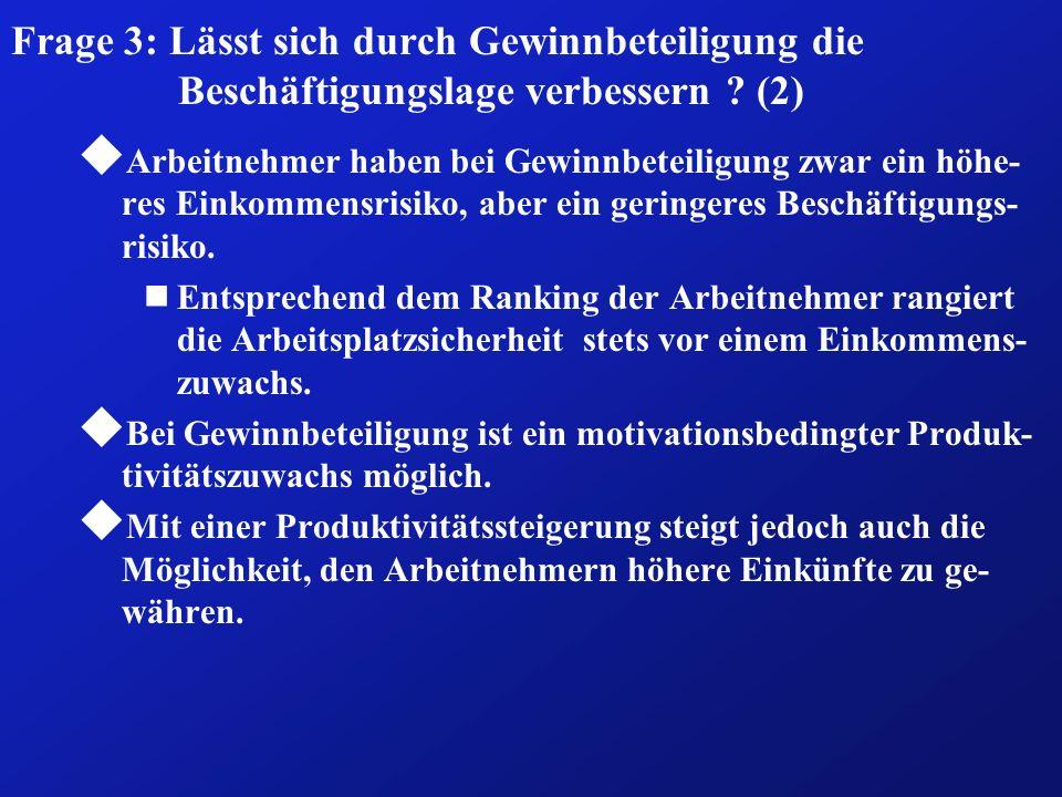 Frage 3: Lässt sich durch Gewinnbeteiligung die Beschäftigungslage verbessern (2)