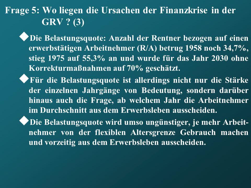 Frage 5: Wo liegen die Ursachen der Finanzkrise in der GRV (3)