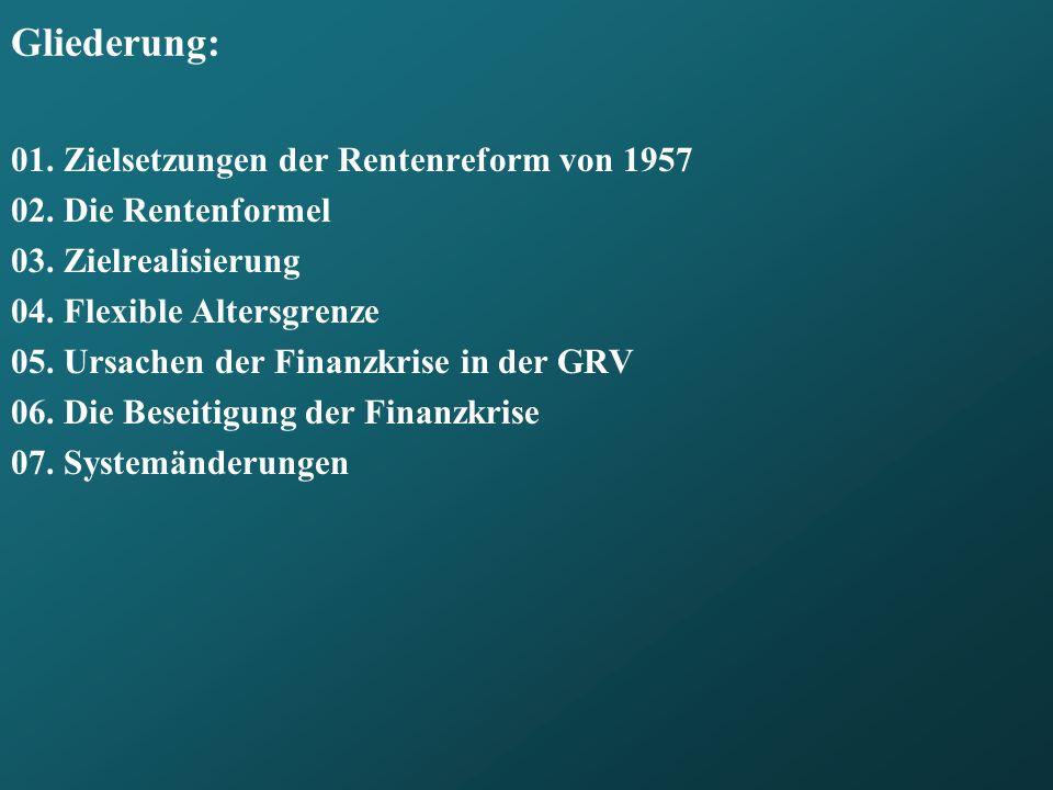 Gliederung: 01. Zielsetzungen der Rentenreform von 1957
