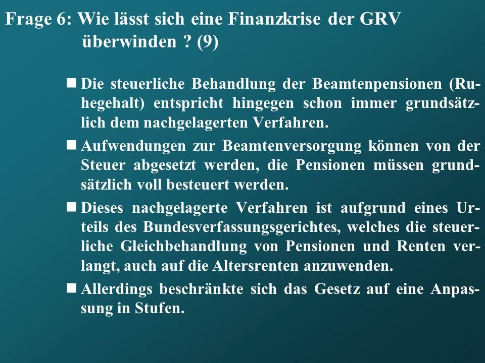 Frage 6: Wie lässt sich eine Finanzkrise der GRV überwinden (9)
