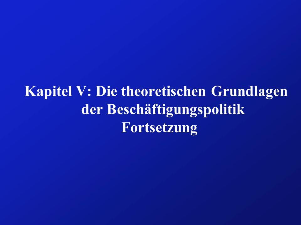 Kapitel V: Die theoretischen Grundlagen der Beschäftigungspolitik Fortsetzung