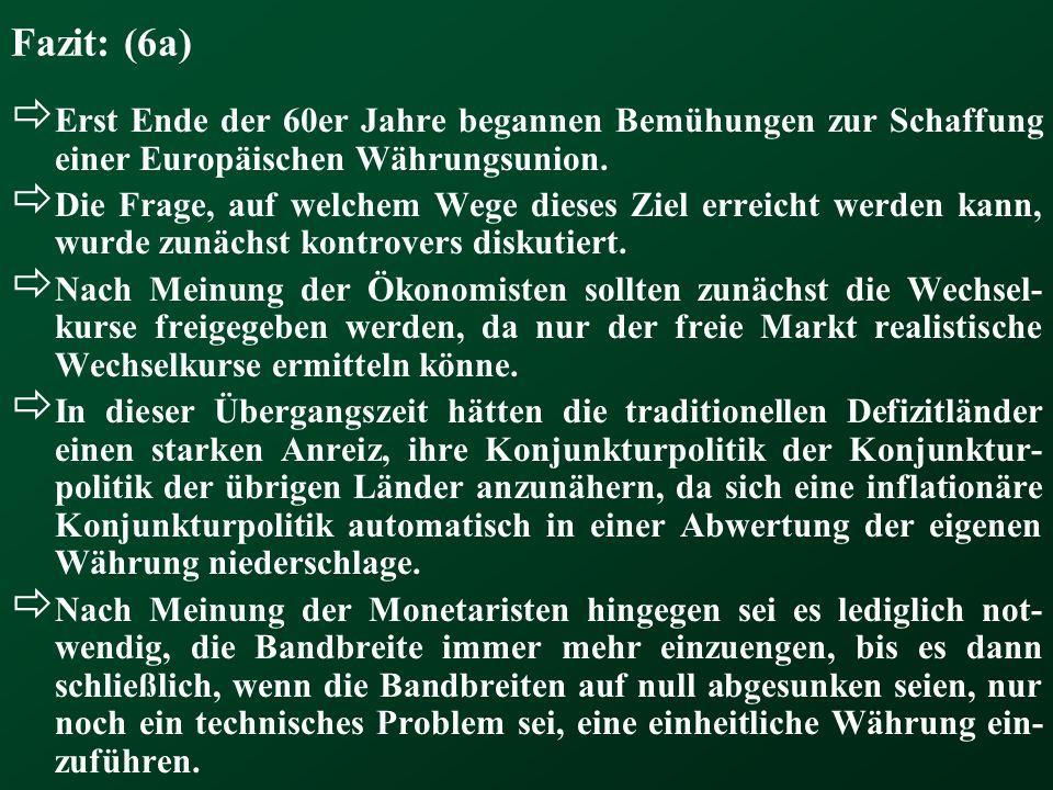 Fazit: (6a) Erst Ende der 60er Jahre begannen Bemühungen zur Schaffung einer Europäischen Währungsunion.