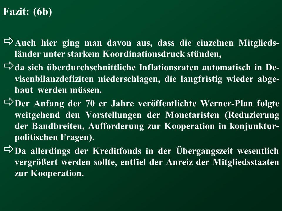 Fazit: (6b) Auch hier ging man davon aus, dass die einzelnen Mitglieds-länder unter starkem Koordinationsdruck stünden,