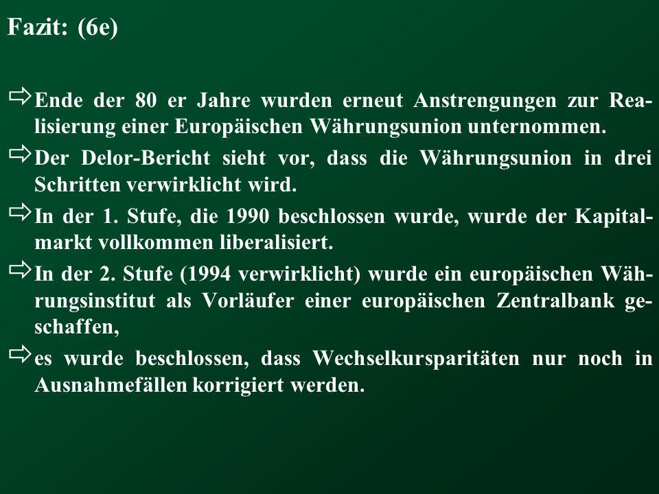 Fazit: (6e) Ende der 80 er Jahre wurden erneut Anstrengungen zur Rea-lisierung einer Europäischen Währungsunion unternommen.