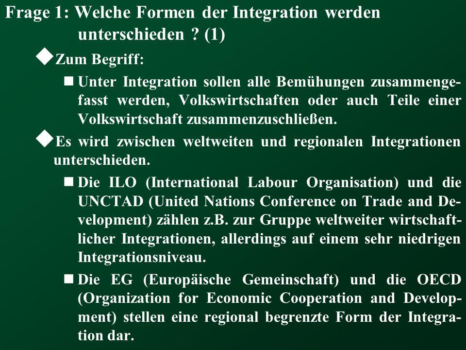 Frage 1: Welche Formen der Integration werden unterschieden (1)