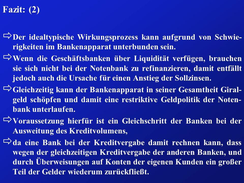 Fazit: (2) Der idealtypische Wirkungsprozess kann aufgrund von Schwie-rigkeiten im Bankenapparat unterbunden sein.