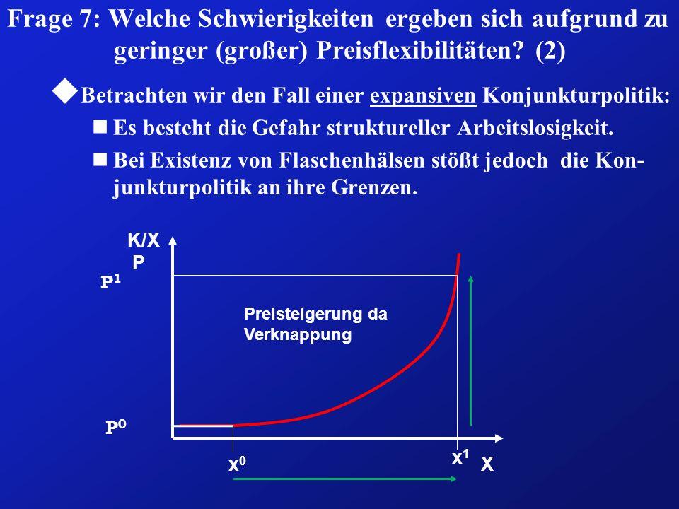 Frage 7: Welche Schwierigkeiten ergeben sich aufgrund zu geringer (großer) Preisflexibilitäten (2)